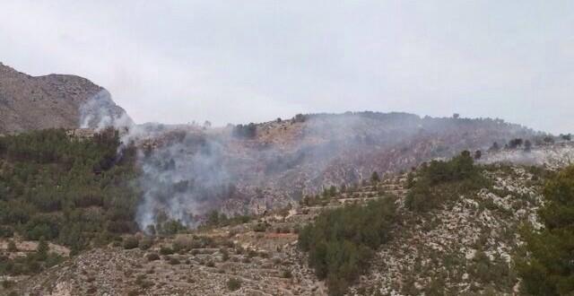 Una quema provoca un incendio forestal en L' Orxa