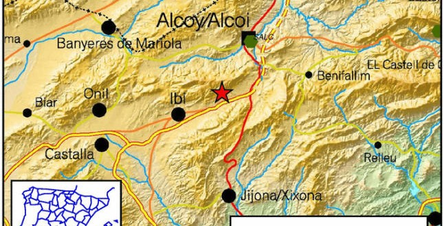 Terremoto entre Alcoy e Ibi