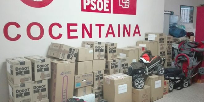 El PSOE de Cocentaina recoge 900 kilos de material para los refugiados sirios