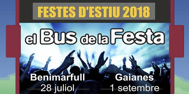 El Bus de la Festa se desplazará este año a Benimarfull y Gaianes